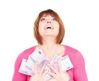 Glückliche Frau mit Geld Stockfotografie