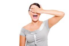 Glückliche Frau mit geschlossenen Augen eigenhändig Stockfotos