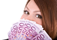 Glückliche Frau mit Gruppe Geld. Lizenzfreies Stockbild