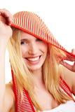Glückliche Frau mit hoody Lizenzfreie Stockbilder