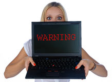 Glückliche Frau mit Laptop Lizenzfreie Stockfotografie
