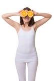 Glückliche Frau mit orange Augen lizenzfreie stockbilder