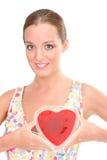 Glückliche Frau mit rotem Innerem Lizenzfreie Stockbilder