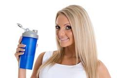 Glückliche Frau mit Sportnahrung. Stockfotos