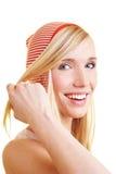 Glückliche Frau mit Streifen Stockbilder