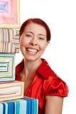 Glückliche Frau mit vielen Geschenken Stockfotografie