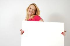 Glückliche Frau mit Zeichen Stockfotografie