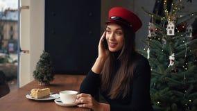 Glückliche Frau spricht am Telefon, das in einem angenehmen Café am kalten Wintertag sitzt stock video