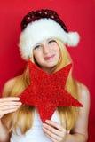 Glückliche Frau am Weihnachten Lizenzfreies Stockfoto
