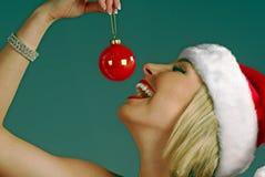 Glückliche Frau am Weihnachten Lizenzfreie Stockfotos