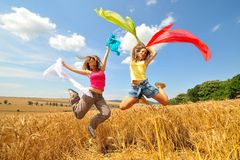 Glückliche Frauen auf Feld am Sommer Lizenzfreie Stockbilder
