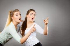 Glückliche Frauen, die oben mit einem Finger zeigen Lizenzfreie Stockbilder