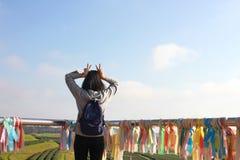 Glückliche Frauen mit den Händen oben auf der Tee-Plantage in Chiang Rai stockfotografie
