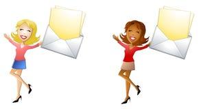 Glückliche Frauen mit Post lizenzfreie abbildung