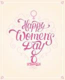 Glückliche Frauen ` s Tageshand gezeichnete Beschriftung Stockfotos