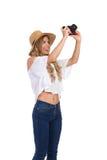 Glückliche Frauen-touristischer Fotograf Isolated Lizenzfreies Stockbild