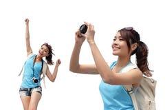 Glückliche Frauenreise lizenzfreie stockfotos