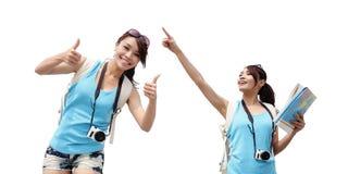 Glückliche Frauenreise lizenzfreie stockfotografie