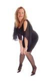 Glückliche Frauenstellung und -c$verbiegen Lizenzfreies Stockfoto