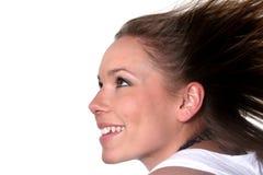 Glückliche freie Frau Stockfoto