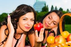 Glückliche Freunde auf Picknick auf dem Rasen Lizenzfreie Stockfotos
