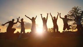 Glückliche Freunde, die bei Sonnenuntergang springen stock video