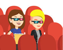 Glückliche Freunde, die Film 3D im Theater aufpassen Stockfoto