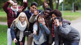 Glückliche Freunde, die selfie durch Smartphone im Park nehmen stock video