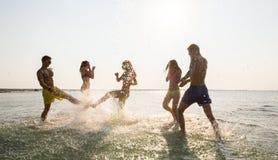 Glückliche Freunde, die Spaß auf Sommerstrand haben Stockbilder