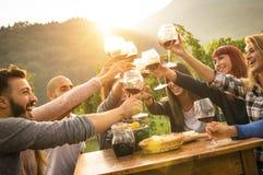 Glückliche Freunde, die Spaß am Hinterhofgartenfest haben Lizenzfreies Stockfoto