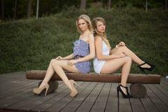 Glückliche Freunde im Park lizenzfreies stockfoto