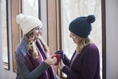 Glückliche Freundinnen zu Hause im Winter stockfotos