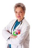 Glückliche freundliche Kinderarztdoktorkrankenschwester Stockfotos