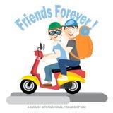 Glückliche Freundschafts-Tageskarte 4 August Best-Freunde, die ein rotes Motorrad reiten Lizenzfreies Stockbild