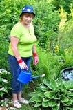 Glückliche Gärtnersorgfalt der erwachsenen Frau für Anlagen Stockbild