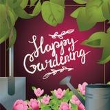Glückliche Gartenarbeithandlettering Postkarte der Kalligraphie Stockfotografie