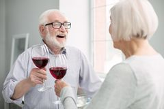Glückliche gealterte Paare, die Wein essen stockfotos