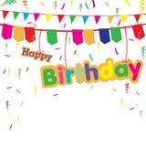 Glückliche Geburtstagsfeier mit buntem Geschenk auf weißem Hintergrund Glückliche Geburtstagsfeier des Vektors Lizenzfreie Stockbilder