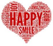 Glückliche Gefühle - Wortwolkenillustration lizenzfreie abbildung