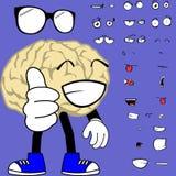 Glückliche Gehirnkarikaturhippie-Artausdrücke eingestellt Lizenzfreies Stockbild