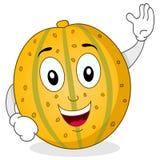 Glückliche gelbe Melonen-Zeichentrickfilm-Figur Stockfotografie