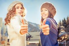 Glückliche gemischtrassige Frauen, die zum Eislauf im Freien gehen Lizenzfreie Stockfotografie