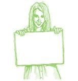 Glückliche Geschäftsfrau der Skizze, die unbelegte Karte anhält vektor abbildung