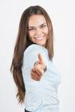 Glückliche Geschäftsfrau mit den Daumen up Geste Stockfotos