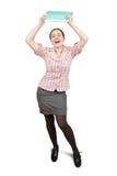 Glückliche Geschäftsfrau mit Dokumenten Stockfotografie