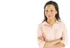Glückliche Geschäftsfrau Standing Arms Crossed Stockfotografie