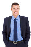 Glückliche Geschäftsmannaufstellung Lizenzfreies Stockbild