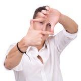 Glückliche Gestaltungsphotographie des jungen Mannes auf Weiß Lizenzfreies Stockfoto