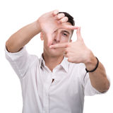 Glückliche Gestaltungsphotographie des jungen Mannes auf Weiß Lizenzfreie Stockfotos