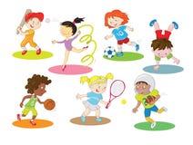 Glückliche gesunde und aktive Kinder, die Innen- und Sport im Freien tun lizenzfreie abbildung